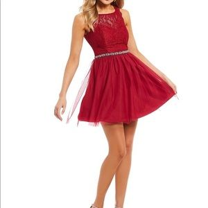 Sequin Hearts Lace Beaded Waist Fit & Flare Dress